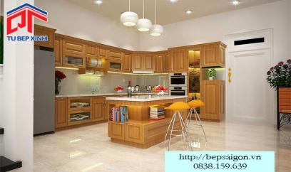 Mẫu tủ bếp gỗ sồi đẹp độc đáo BT01