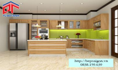 Tủ bếp gỗ sồi vân gỗ hiện đại BT11