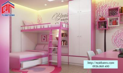 giường ngủ màu hồng cho bé gái