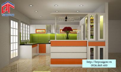 tủ bếp Acrylic màu cam kết hợp trắng trẻ trung