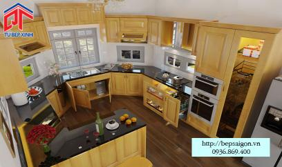 thiết kế tủ bếp gỗ sồi đẹp và sang trọng