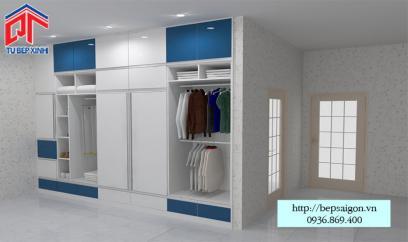 Tủ quần áo kết hợp màu trắng (EARC11) và xanh dương (EARC15)  trẻ trung