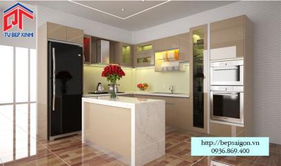 Thi công tủ bếp Acrylic nhà chị Liên - MTB29