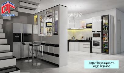 Thi công tủ bếp kết hợp quầy bar hiện đại- MTB51