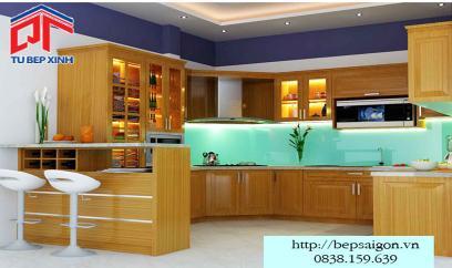 Tủ bếp gỗ sồi thiết kế tinh tế BT09