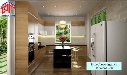 Thiết kế tủ bếp gỗ sồi đẹp và sang trọng - MTB 32